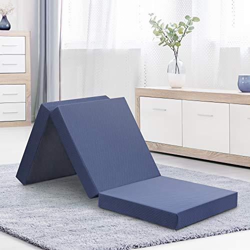 Olee Sleep Topper Tri-Folding Memory Foam Mattress, 4', Gray, foldable...