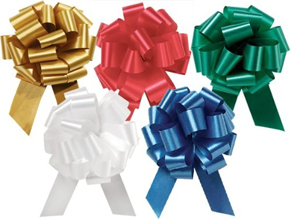 10 Large 5.5 Inch Wide Pull Bow Holiday Assortment Wrap Bow 2 Ea: White Red Gold Emerald Green Royal Blue - 20 Loops