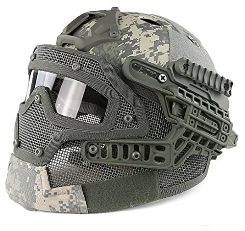 QMZDXH PJ Type Tactical Protection Fast Molle Airsoft y Paintball Tactical Protection Casco Rápido Máscara Táctica ABS, Deportes Al Aire Libre Caza CS Juego Cascos de Paintball
