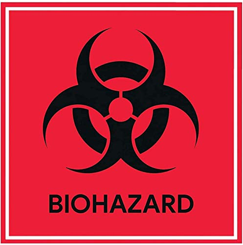 Biohazard Sign Stickers 4' X 4' Waterproof Biohazard Warning Label,Use for Hospitals and Industrial (60/Pack)