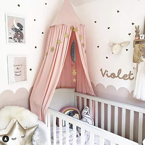 A/N Cuna de bebé, dosel de cama, mosquitera para juegos, decoración perfecta para niños, princesa, niña, dormitorio o habitación de bebé (rosa)