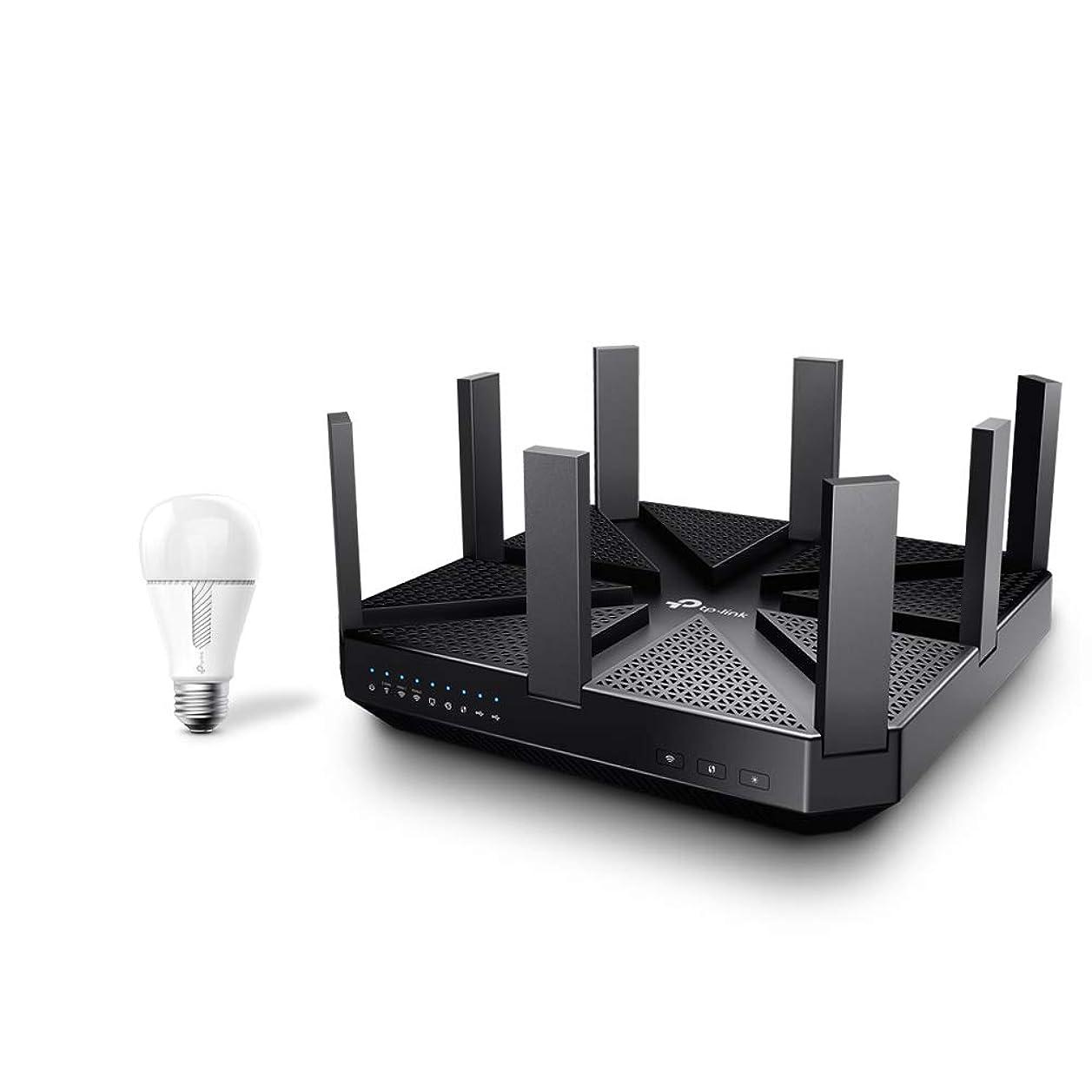 TP-Link WiFi 無線LAN ルーター Archer C5400 AC5400 2167+2167+1000Mbps トライバンド + TP-Link Kasa スマート LED ランプ 調光タイプ E26 KL110 800lm 電球色
