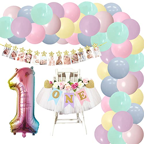 Juego de guirnalda de globos para niñas con diseño de arcoíris para 12 meses y una trona para decoración de fiesta de cumpleaños