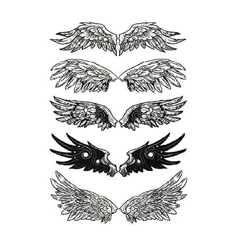 Autocollants de tatouage d'aile autocollants de transfert d'eau noirs autocollants de tatouage imperméables 10,5 * 15 cm