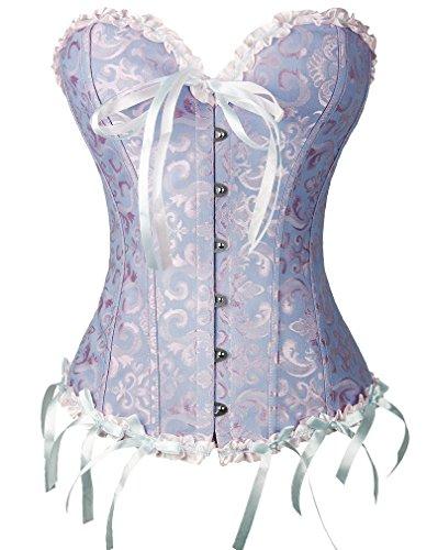 Charmian Women's Burlesque Sweetheart Satin Laces Boned Overbust Corset Bustier Blue XX-Large