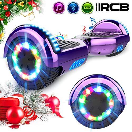 """RCB Elektro Skateboard Hoverboard E-Board 6,5\"""" Smart Self Balance Scooter mit bunten Lichter Bluetooth eingebaute Geschenk für Kinder - Elektro Roller"""