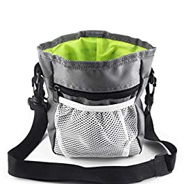 niumanery Detachable Pet Training Treat Snack Bag Dog Pouch Feed Pocket Waist Shoulder Bags Gray