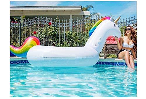 Luftmatratze XXXL Einhorn (275 cm) mit Getränkehalter Matratze groß Schwimmliege Liege Luftbett Schwimmring Cup Holder Pool Lounge Unicorn pink weiß