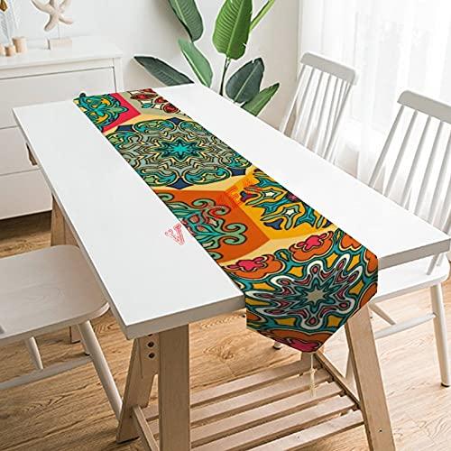 Camino de mesa bufandas de vestidor, retazos vintage con elementos de mandala florales, 1 mantel para el hogar, cocina, cena, boda, eventos, decoración, 13 x 200 cm,