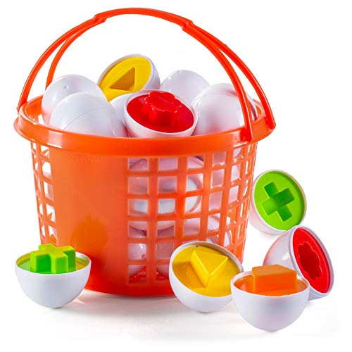 Prextex Easter Eggs Educational Shaped Puzzle in a Basket (12 Eggs) Clever Matching Eggs