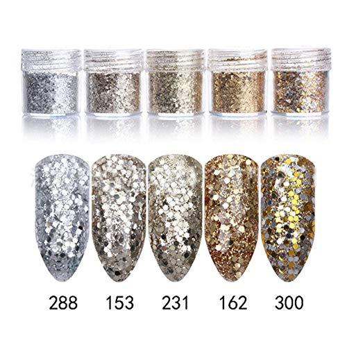 Nail Art Glitter 1 boîte 10 ml 3D Nail Art Glitter Champagne Argent Or MIX Nail Glitter Poudre Paillettes Poudre pour Nail Art Glitter, 231 sachet