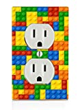 Trendy Accessories Decorative Colorful Bricks Design Print Image Plastic Electrical Outlet Wall Plate Cover