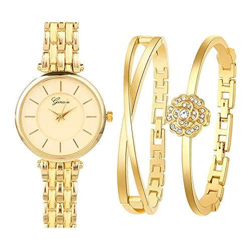 Souarts Geschenke für Frauen, Damenuhr Rosegold Armreif Geschenkset, Schmuck Damen Uhren Set, Analog Quarz Armbanduhr Armkette Geschenk Set für Geburtstag Weihnachten Muttertag(Gold Schwarz)