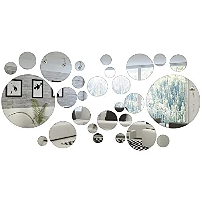 Shappy 32 Pieces Removable Acrylic Mirror Setting Wall Sticker Decal for Home Living Room Bedroom Decor (Round Circle, 32 Pieces)