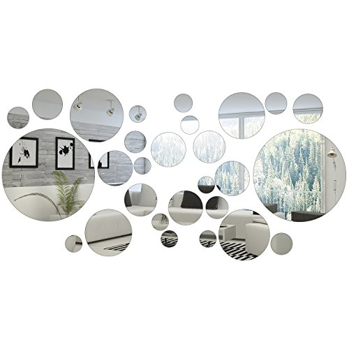 32 Pieces Removable Acrylic Mirror Setting Wall Sticker Decal for Home Living Room Bedroom Decor (Round Circle, 32 Pieces)