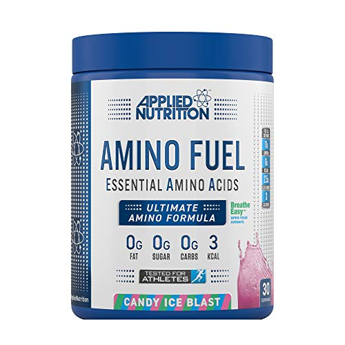 Applied Nutrition Amino Fuel - Essential Amino Acid (EAA) Powder Supplement Maximize Muscle Growth, 11g of Aminos Per Serving with BCAA's 390g - 30 Servings (Candy Ice Blast)