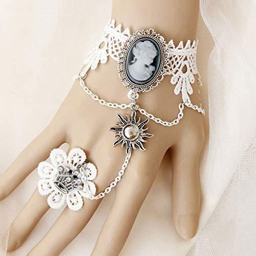 JASIN Kant Armband Ring, Barok Vintage Schoonheid Kroon Bruid Wit Kant Armband met Ring Een Ketting Polsband Sieraden