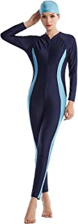 ملابس سباحة قطعة واحدة من Muslim ملابس السباحة المنقدة للنساء غطاء كامل رداء سباحة إسلامي بوركيني (لون كحلي، المقاس: XXX-L...