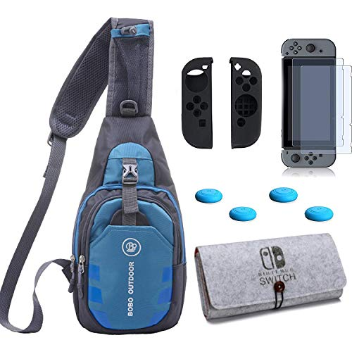 ZYJ-AWASA 5 in 1 Game Console Backpack Crossbody Bag with Carrying Case Bag/Screen Protector/Switch Joy con Case and Thumbsticks for Nintendo Swich Travel Kit
