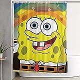 ChenZhuang Lustiger Stoff Duschvorhang Spongebob Regenbogen wasserdicht Badezimmer Dekor mit Haken 60 x 72 Zoll
