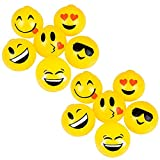 Kicko Sticky Splat Emoticon Ball - Set of 12-2.5 Inch Funny Squishy Emoji Balls in Vibrant Yellow Color for Stress Relief, Stocking Stuffers, Room Decoration, Beneficial, Party Supply