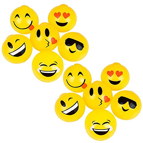 Kicko Sticky Splat Emoticon Ball - Set of 12-25 Inch Funny Squishy Emoji Balls in Vibrant Yellow Color for Stress Relief Stocking Stuffers Room Decoration Beneficial Party Supply