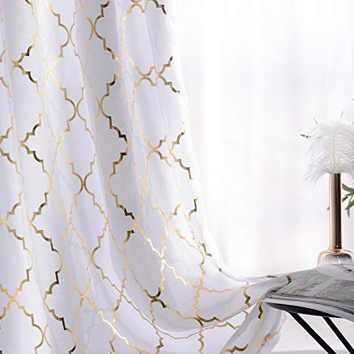 YJ YANJUN White Sheer Curtains Metallic Trellis Gold Foil Curtain for Living and Bedroom Summery Romantic Vibe Set of 2 Panles, 52 x 84 inch