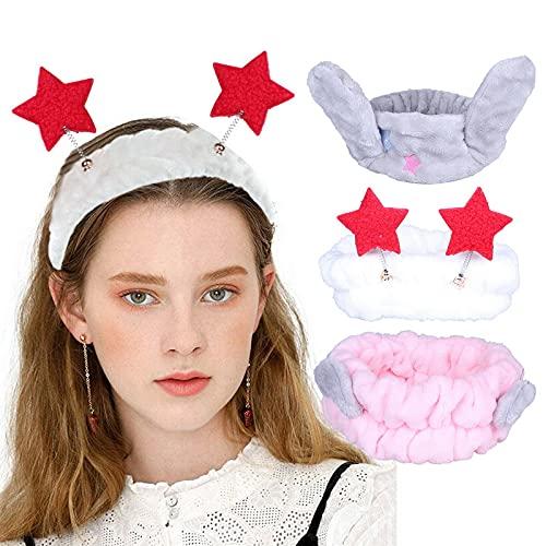 COMVIP 3 bandas elásticas suaves para el cuidado de la piel y las rutinas de maquillaje, diadema de spa, diademas de forro polar coral para mujeres y niñas, lavado facial, belleza y cuidado de la piel