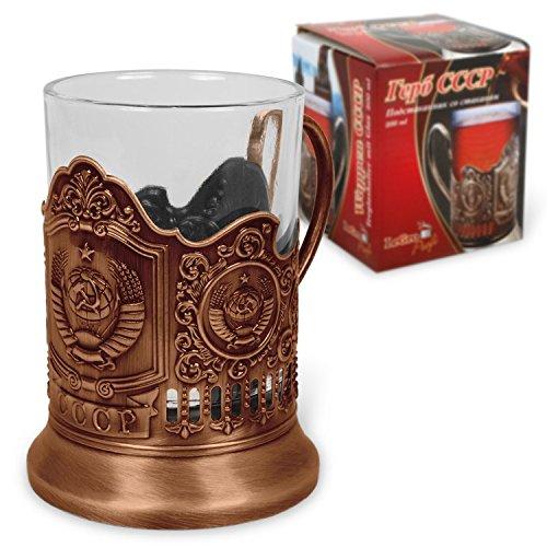 Russland Teeglashalter mit Glas Wappen UdSSR