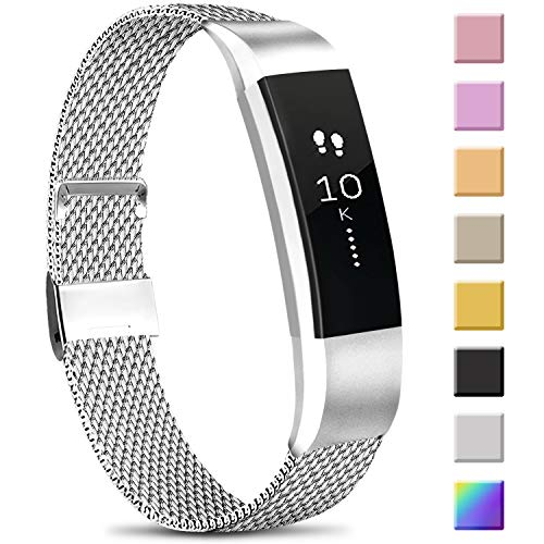 Meliya Replacement Metal Bands Compatible with Fitbit Alta/Fitbit Alta HR, Stainless Steel Metal Replacement Wristbands for Women Men (Large, 04 Silver)