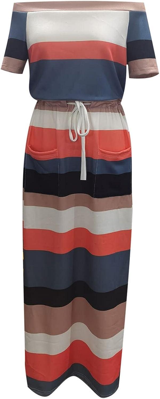 Women Summer Casual Dress Sexy Slash Neck Dress Striped Printing Dress Loose Sleeveless Tie Waist Midi Long Dress