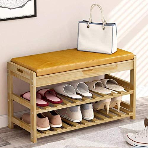 ZXL schoenenkast met schoenenkast met kussen voor de hal slaapkamer 73,5 x 30 x 45 cm (kleur: hout, maat: 2 niveaus)