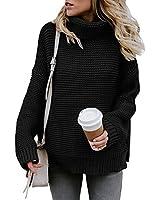 Glanzition Womens Oversized Turtleneck Fall Sweaters Tunic Ugly Christmas Sweater Black S