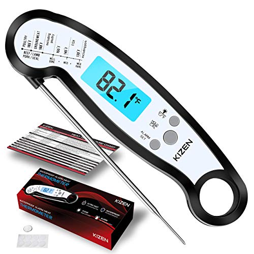 Kizen Meat Instant Read Thermometer - Best Waterproof Alarm Thermometer with Backlight & Calibration. Kizen Digital Food Thermometer for Kitchen, Outdoor Cooking, BBQ, and Grill!¡¦