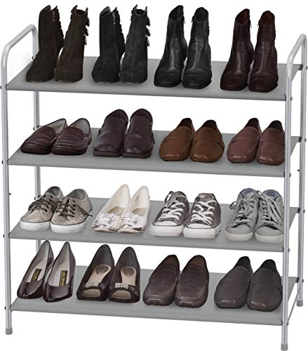 Simple Houseware 4-Tier Shoe Rack Storage Organizer, Grey