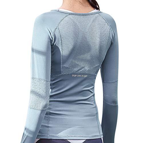 MoneRffi Damen Sport Oberteile Sportshirt Langarm Yoga Crop Top Laufshirt Funktionsshirt Fitness Übung Nahtlos Enge Sport Top Sport Sportliche Blusen(A-Hellblau?S)