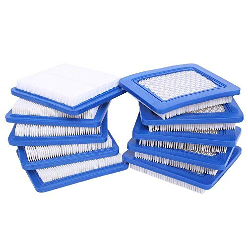 HEYZLASS 10 Pack 491588S Air Filter, Replace for Briggs Stratton 491588 4915885 Flat OEM Air Cleaner Cartridge, Lawn Mower Air Filter
