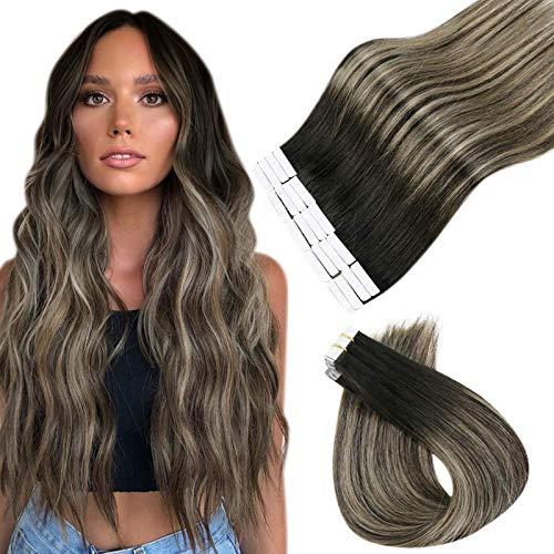 Esayouth Human Cheveux Ruban Noire Naturel Adhesif Couleur Off Black à Honey Blonde avec Off Black Adhesive Humains Cheveux Ruban Tape in Hair Extensi