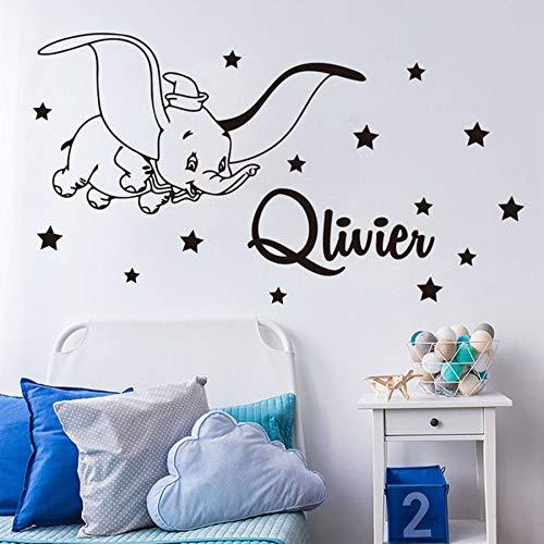 HGFDHG Nombre Personalizado de Dibujos Animados Dumbo Starry Sky Tatuajes de Pared habitación de los niños Nombre del Dormitorio Dumbo Animal Pegatinas de Pared decoración de Vinilo para guardería Y