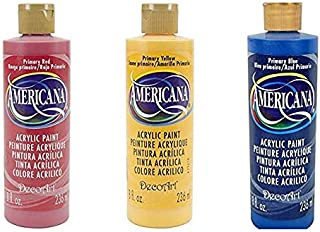 DecoArt Americana Primary Color Acrylic Paint Set - 8 Ounce Bottles - Bundle of 3 Colors: Red, Yellow and Blue