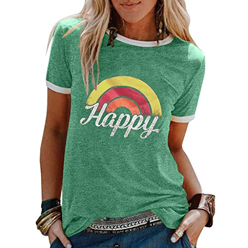 Auifor Frauen Regenbogen T-Shirt, Frauen Gänseblümchen T-Shirt, Sommer Kurze Ärmel Shirt lässig Tunika Tops Bluse