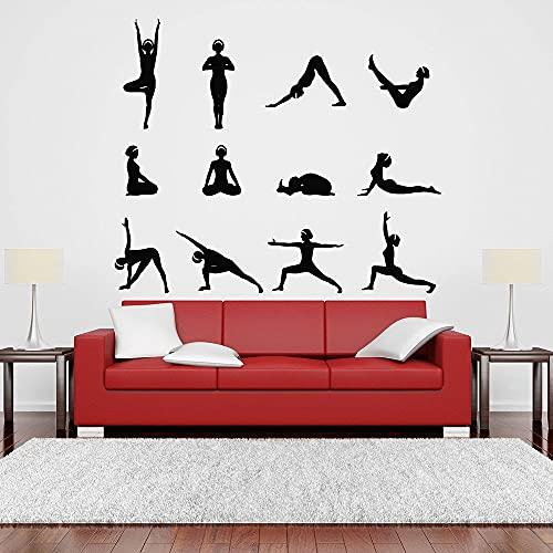 Postura di yoga Decalcomania da muro Modello Hindu Pilates Room Ragazze Camera da letto Interior...