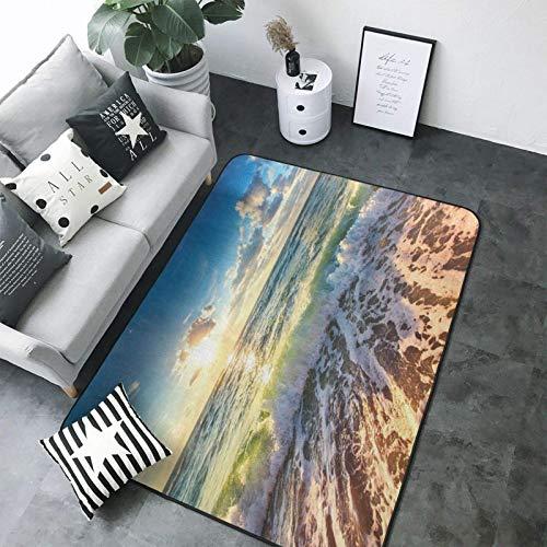Sea On The Boards - Alfombra de tela de franela moderna para interiores (200 x 58 pulgadas)