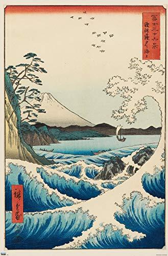 Trends International Hiroshige - The Sea at Satta Wall Poster, 22.375' x 34', Unframed Version