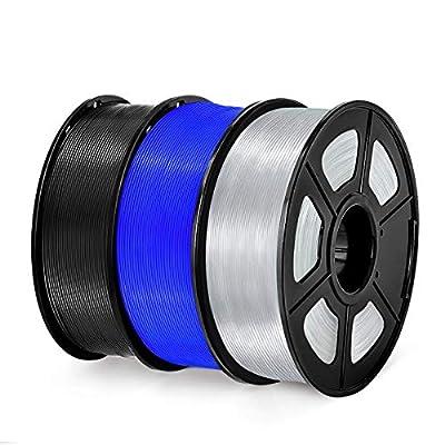 PETG 3D Printer Filament, SUNLU PETG Filament 1.75mm Dimensional Accuracy +/- 0.02 mm, 1 kg Spool, PETG Black + Blue + Transparent