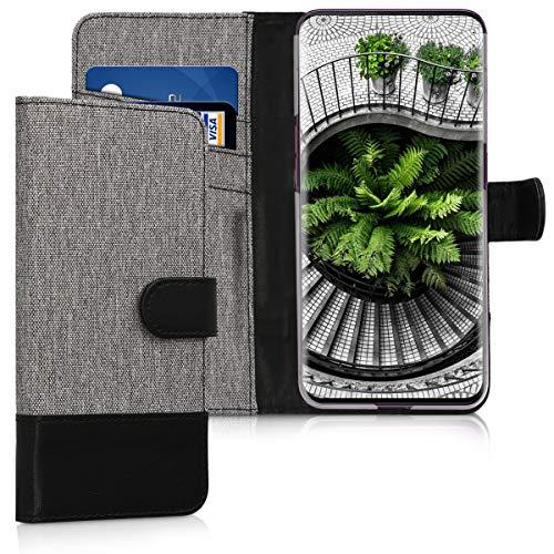 kwmobile Oppo Find X Hülle - Kunstleder Wallet Case für Oppo Find X mit Kartenfächern & Stand - Grau Schwarz