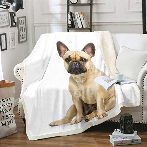 Manta de sherpa para perro, manta de forro polar, para niños y niñas 3D con estampado de perro, manta de peluche con temática animal, manta para sofá cama, sofá cama King 87 x 94 pulgadas