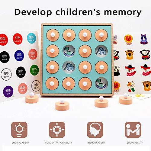 Memory and Matching Game Intelligenz IQ Rätselspiel Holz Gedächtnisspiel Pädagogisches Puzzle Schachspielzeug Logisches Denken Training Kinder Spaß Lernen Brettspiele (Mehrfarbig)