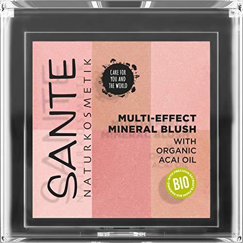 SANTE Naturkosmetik Multi-Effect Mineral Blush 01 Coral, Rouge, 6 Farbnuancen, Seidig-weiche Textur,...
