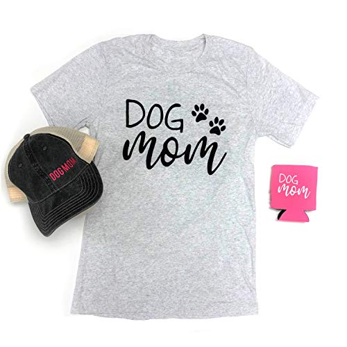 DOGS RULE. - Dog Mom Bundle Grey Crew Neck T-Shirt(1), Grey Baseball Cap(1), Pink Koozie(1) - X-Large